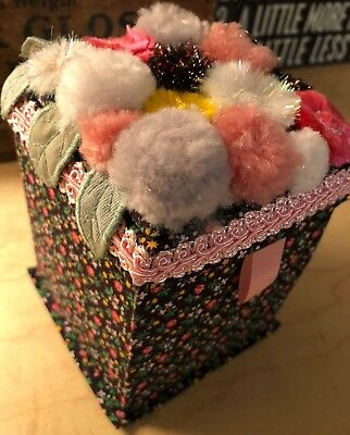 Vintage Handmade Fold Out Flowered Material Sewing Box Kit Multi Pocket