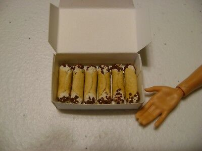 Barbie Dollhouse Food Cannoli's with chocolate sprinkles Handcrafted and a box