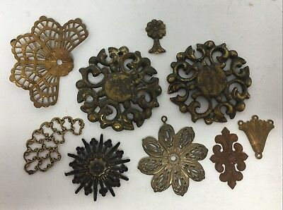 Vintage Lot Dollhouse Miniature Bronze Brass Architectural Wall Ceiling Hangings