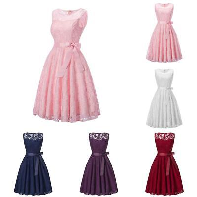 Women Sleeveless Lace Piecing Wedding Party Cocktail Evening Formal Prom Dress