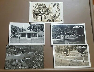 4-H Camp RPPC West Virginia Unused Postcard B/W Capitol Lot 4 H Pool