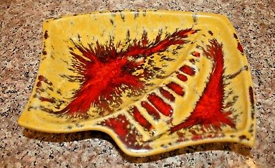 "Vintage Mccoy Pottery 8"" Yellow And Red Ashtray #921"