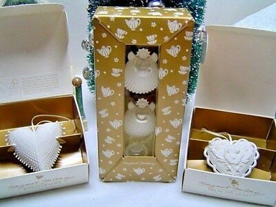 Lot 3 MARGARET FURLONG - 2 Hearts - Tea For Two & Stands Xmas Ornaments w/boxes