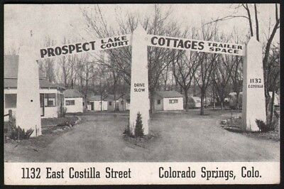 Vintage card PROSPECT LAKE COURT Cottages Colorado Springs Colo Court Rules old