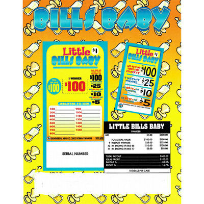"""""""Little Bill's Baby""""  1 Window Pull Tab 600 Tickets Payout  $500 Free Ship US"""