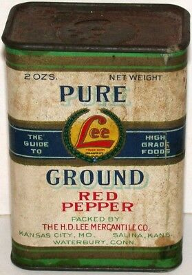 Vintage spice tin LEE PURE GROUND RED PEPPER cardboard sided H D Lee KC Salina