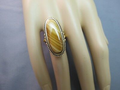 Avon 60s Ring Gold Plated Large Marbled Brown Tan Oval Stone Size 6