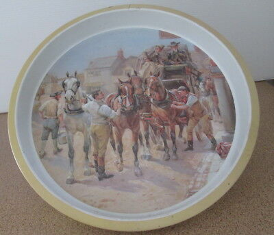 Vintage Willow Retro Metal Serving Tray Round Stage Coach With Horses Wagon