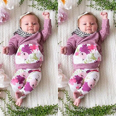Newborn Infant Baby Girls Floral Hooded Tops Pants Leggings Outfits Set Clothes
