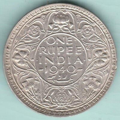 British India - 1940 - King George Vi Emperor - One Rupee  - Aunc Silver Coin