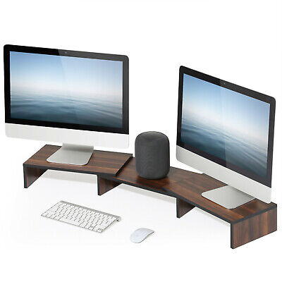 FITUEYES Wood Dual Monitor Stand Riser with Adjustable Length Storage Organizer