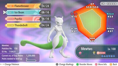 Pokemon Lets Go Pikachu & Eevee - Shiny Mewtwo - Shiny/6IV + Customisable!!