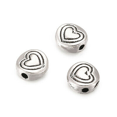 100pcs Tibetan Alloy Coin Metal Beads Carved Heart Antique Silver Spacers 6.5mm