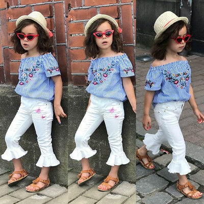 US Toddler Kids Baby Girl Flower Tops Flared Pants Leggings 2Pcs Outfits Clothes