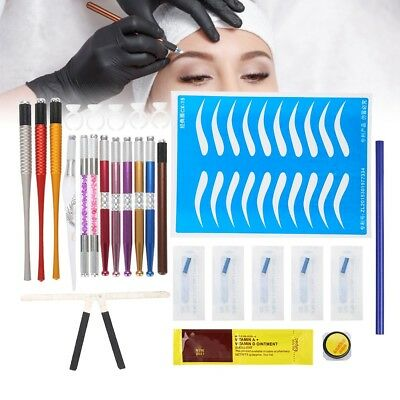 Microblading Permanent Makeup Eyebrow 3D Tattoo Pen Needles Ruler Pigment Kit