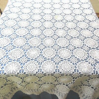 Vintage 100% Cotton Tablecloth Crochet Lace White 56x84 Rectangle