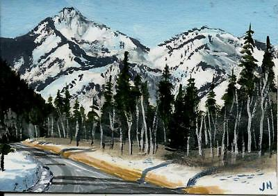 "aceo original acrylic painting ""Crisp Mountain Winter""  by J. Hutson"