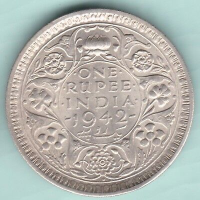 British India - 1942 - King George Vi Emperor - One Rupee  - Aunc Silver Coin