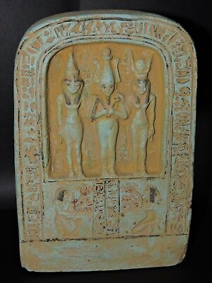 RARE ANCIENT EGYPTIAN ANTIQUE Statue Of Orisis , Nephthys And Isis STONE 1375 BC
