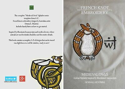 Medieval Owls French Knot Embroidery Pattern Book