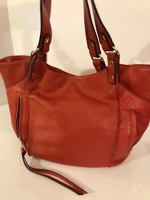 Kooba Burnt Orange/coral Pebbled Leather Handbag,excel Shape,soft,clean,great,la