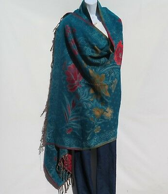Yak Wool|Shawl/Throw/Wrap |Handloomed|Reversal|Flora|Base Color: Turquoise