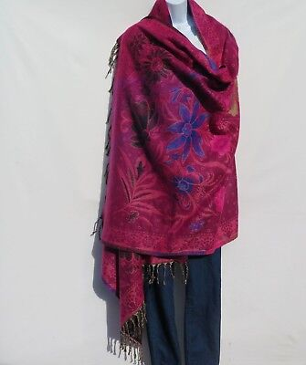 Yak Wool|Shawl/Throw/Wrap |Handloomed|Reversal|Flora|Base Color:  Pink