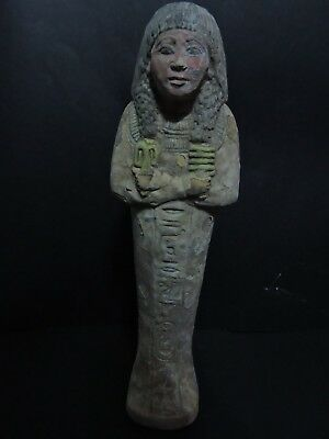 RARE ANCIENT EGYPTIAN ANTIQUES USHABTI (SHABTI) QUEEN STATUE LUXOR Lime STONE BC