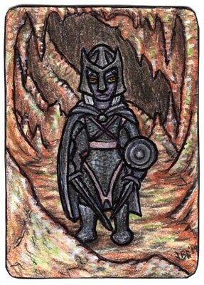 ACEO Art Original Mixed Media Male Drow Warrior #5 by JBG