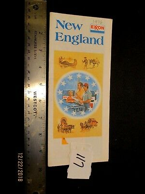 Vintage 1976 EXXON New England Highway Road map MA ME CT NH VT Tiger in tank WOW