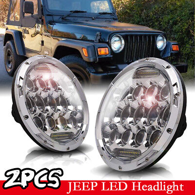 7 INCH 75W LED Headlight Hi/Lo Beam DRL Fit 97-18 Jeep Wrangler