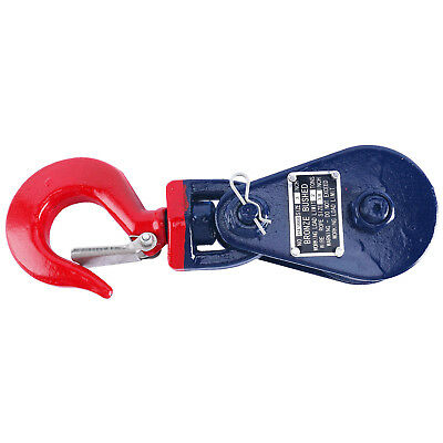 Wire Rope Pulley Block 2 Ton Snatch Block with Swivel Hook & Latch Single Sheave