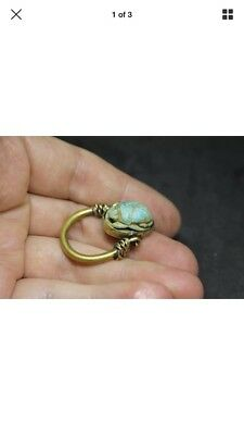 Rare ancient Egyptian bronze scarab beetle ring 350 BC