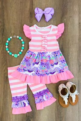 US Stock Unicorn Kids Baby Girls Outfits Clothes Dress Tops Dress Striped Pants