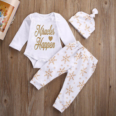 UK Infant Newborn Kids Baby Girls Cute Letter printing 3 Pcs Outfits Set Clothes