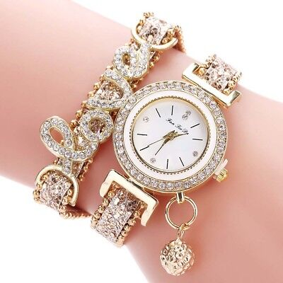 1x Exquisite Multi-layer Bracelet Quartz Watch Crystal Love Letter Strap Jewelry