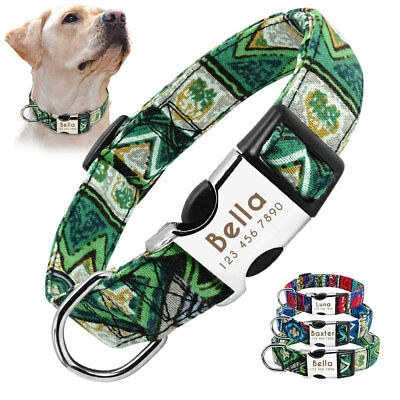 Pet Small Large Dog Collar Personalised Nylon Heavy Duty Engraved Tag Adjustable