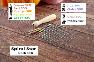 Color Coded - Collector's Felting Needles Set (9 sizes each) with Wooden Handle