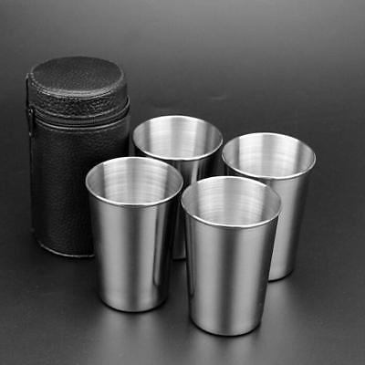4Pcs Stainless Steel Camping Cup Mug Drinking Coffee Tea With Case Set MN