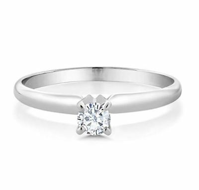 1.00Ct Round Cut Diamond Solitaire Engagement Ring 14k White Gold Finish