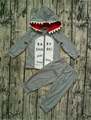 US 2Pcs Toddler Kids Baby Boy Shark Clothes Hooded Tops Pants Spring Outfits Set