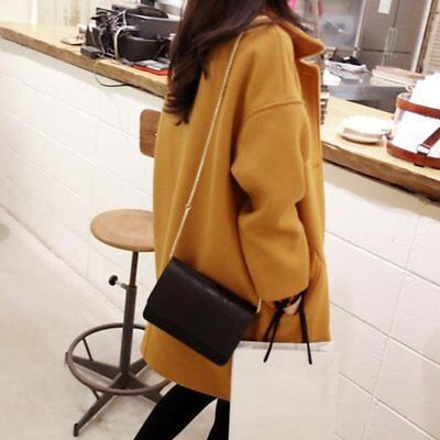 Slim Autumn & Winter Long Sleeves Woolen Overcoat with Turn-down Collar