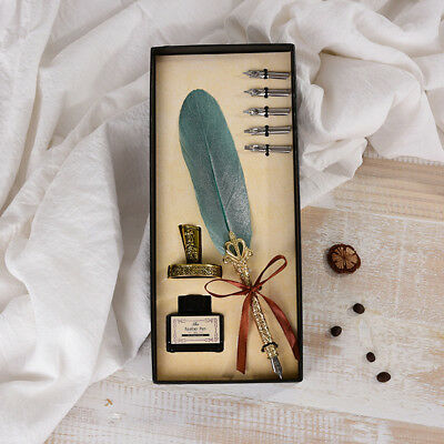 Vintage Feather Quill Dip Pen Ink Set for Stationery Gift Wedding Souvenir N5I5