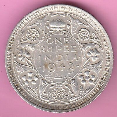 British India-1942-Bombay Mint-One Rupee-King George 6-Rarest Silver Coin-65
