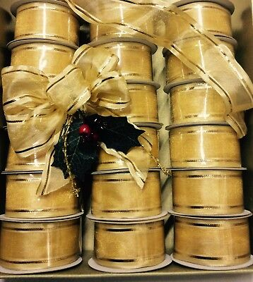 25 Rolls Gold Wired Ribbons Job Lot £1 Line Christmas Trees Wreaths Gifts Craft
