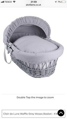 moses basket and stand grey