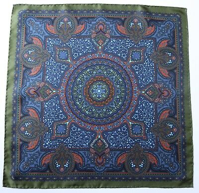 Silk Pocket square. Green, blue & orange ornate print 42cm. Hand rolled
