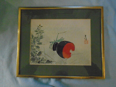 Antique Japanese Woodblock Print (Signed)  Cricket On Lacquer Cup