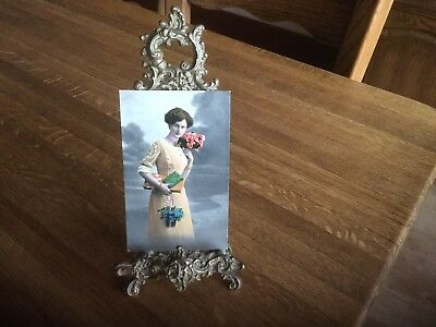 Art Nouveau Solid Brass Photo Picture Easel Frame Vintage Early 1900's