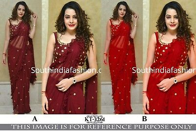 Ruffle Saree Sequins Frill Georgette Sari Indian Ethnic Women Party Wear Blouse